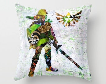 Legend of Zelda Pillow, Zelda decor, Zelda accessories, Link from Zelda, Christmas gift ideas, accent pillow, Indoor OR Outdoor Pillow