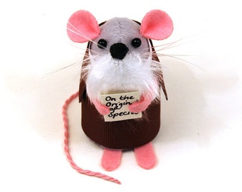 Charles Darwin Mouse - evolution joke collectable art rat artists mice cute soft sculpture toy stuffed plush gift for biologist scientist
