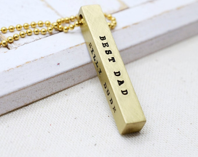 Valentines Day, Valentine Gift, Men's Jewelry, Dainty Gold Bar, Anniversary Gift, Gifts for Him, Skinny Bar Necklace, Husband Gift