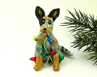 Blue Heeler Dog Porcelain Christmas Ornament Figurine Lights OOAK