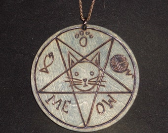 3 Inch Meowphomet Cat Pentagram Pendant (Pyrography) You Pick the Color, Free US Shipping (Chain Not Included)