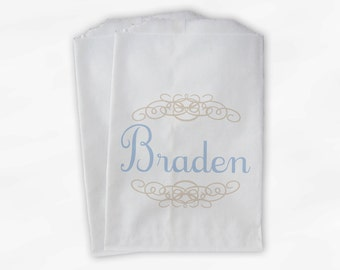 Personalized Candy Buffet Bags - Cream and Baby Blue Custom Favor Bags with Name and Henna Flourish Design - 25 Paper Treat Bags (0038)