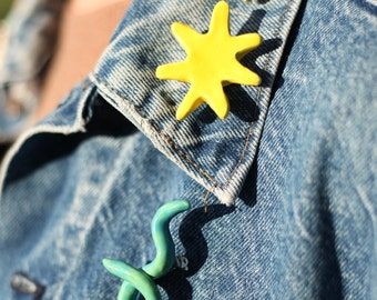 Hand Made / Ceramic Starburst Pin By Mary Sabo