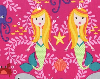 Tropical Siren Sisters 100% Cotton from Michael Miller Fabric's Mer-Mates Collection