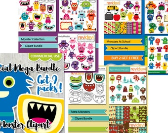 Monsters clipart sale / commercial use monster clip art / printable planner stickers die cut design download / monster clipart bundle