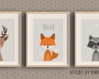 3 posters to frame for kid's room - Fox - deer - Badger