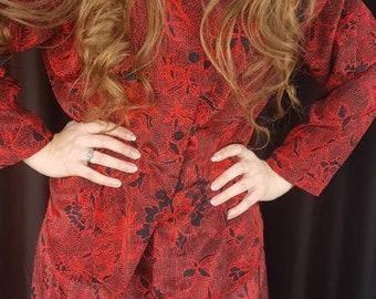 1980s 2 Piece Dress, Vintage Red Dress, 2 Piece Formal Dress, Vintage Floral Dress, Size Medium Dress, 1980s Dress, Matching Skirt & Shirt