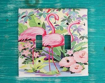 retro flamingo double switch plate vintage 1950's florida kitsch pink flamingo decor