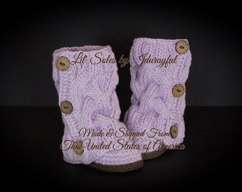 Crochet Baby Shoes, Knit Baby Shoes, Baby Shower Gift, Knit Baby Boots, Purple Baby Shoes, Baby Girl Shoes, Baby Girl Booties, Purple/Brown