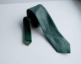 Vintage Green Leather Skinny Tie, Leather Necktie, 1980s
