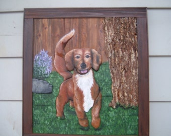 Daschund, Long-haired, Pet Portrait OOAK