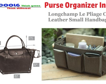 Purse Organizer Insert fit with Longchamp Le Pliage Cuir Leather Small Handbag