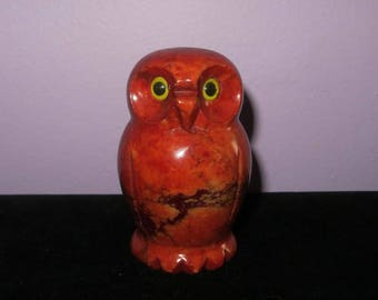 Mid Century 1960's Alabaster Red Owl - Made In Italy