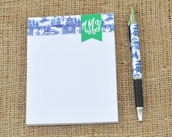 Monogrammed Personalized Chinoiserie Note Pad