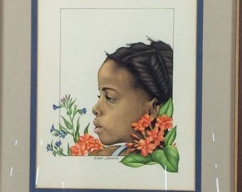 Original art of young island girl by Katie Shears McConnachie of Antigua