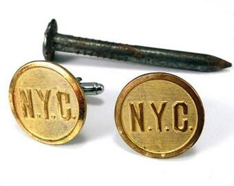 Steampunk Cufflinks Soldered Antique Railroad Uniform Buttons New York Central Railway Antique Brass by Compass Rose Design