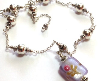Purple Anklet, Ankle Bracelet, Glass Bead, ANY SIZE, Silver Tone (MTO)