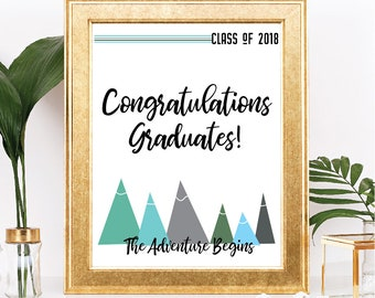 Printable Class of 2018 Graduation Sign - Instant Download - The Adventure Begins Mountain Theme - Table Sign - Digital Download