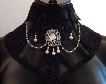 Final sale faux leather neckcorset black/white
