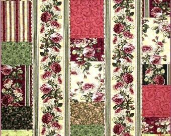 FAST FINISH Flannel Throw Quilt Pattern - B J Q  106 --- Printable Download Pdf E-Pattern Diy Free Shipping Digital Pattern Pink Rose Green