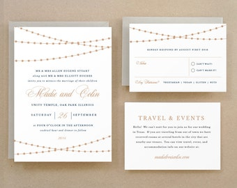 Printable Wedding Invitation Template | INSTANT DOWNLOAD | Lights | Word or Pages | Easy DIY | Editable Artwork Colors