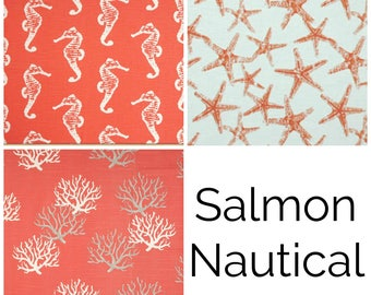CURTAINS Pair of Salmon Pink Drapery Panels. 25 and 50 width. Salmon Window Treatments. Pink. Coral. Nautical. Beach. Coastal. Ocean.