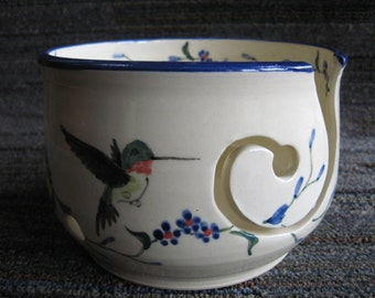 Humming bird yarn bowl for knitting or crochet ...free 2 or 3 day priority USPS shipping