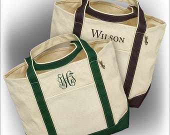 Personalized Embroidered Canvas Tote with Name or Monogram - 3983