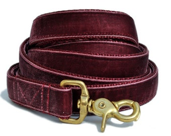 Dog Leash - Dog Lead - Custom Dog Leash - Velvet Dog Leash - Burgundy Velvet Leash