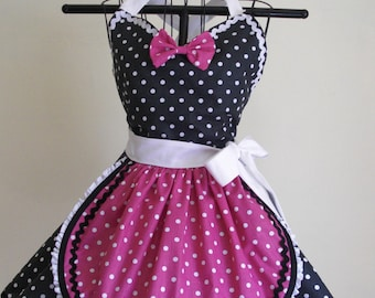 Retro Apron French Maid Apron Pin-up Black and White Hot Pink Polka Dots Flirty Skirt Sweetheart Neckline
