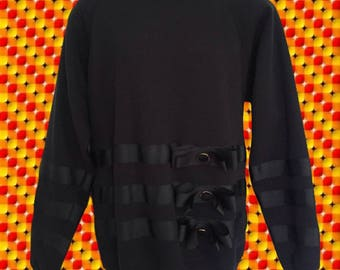 Super 80's Snazzy Black Sweatshirt • Ribbon & Bow Detailing Across the Lower Half and Sleeves • • Extreme Shoulder Pads • Oversized