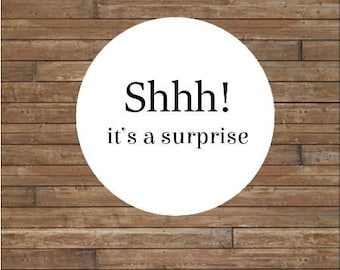 SHHH! It's A Surprise Stickers or Tags       Surprise Party Stickers            Surprise Party Seals