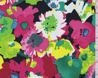 Black/Green/Pink Modern Floral Crepe De Chine, Fabric By The Yard