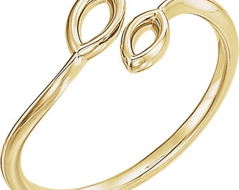 Solid Gold Double Marquise Stackable Ring - 14k Rose, Yellow, White Gold & Platinum. Fine Jewelry. Gift Idea for Her, Wife, Daughter