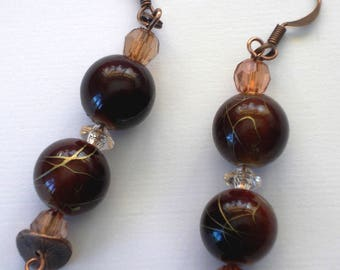 Bead Earrings, aged copper beaded earrings