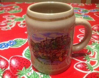Vintage Salzburg .25 liter stoneware beer stein or mug- Austria