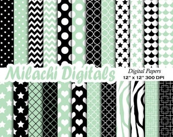 60% OFF SALE mint green and black digital papers, scrapbook papers, background, wallpaper, commercial use - M538