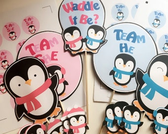 Gender reveal party, waddle it be gender reveal, Gender reveal party decorations, penguin gender reveal, waddle it be, gender reveal