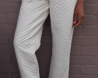 white blanket pants