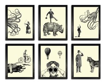 POSTER SET - Six Victorian Adventures Art Prints, Funny Home Office Decor, Anniversary Gift, Illustration Prints, Simplistic Decor, Man Gift