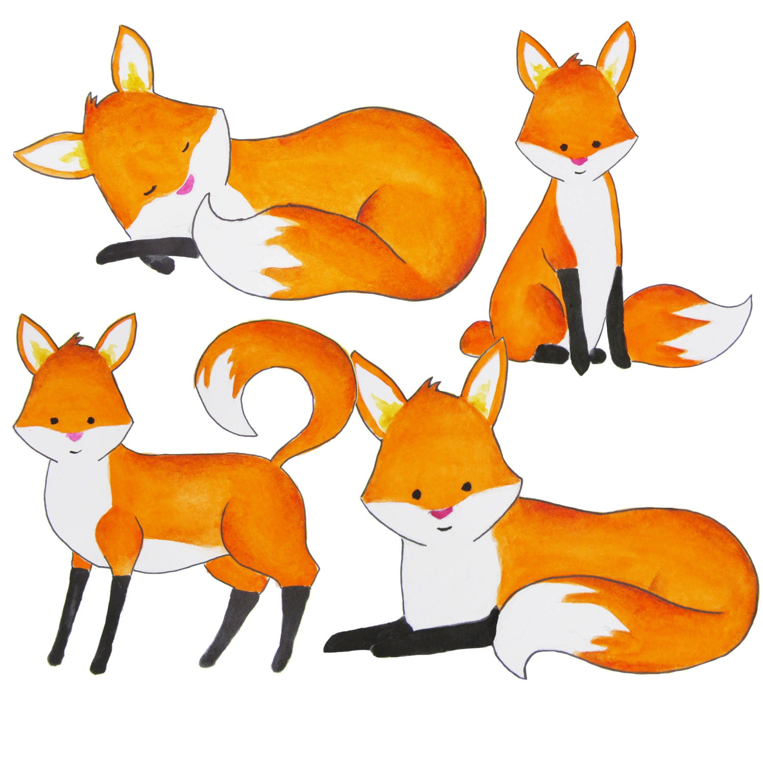 watercolor fox clipart foxes clipart red fox clip art rh etsy com clip art fox hunt clip art fox with football helmet