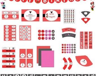 Red Minnie Mouse Birthday Kit-Minnie Mouse Birthday Party-Polka dot Minnie Mouse-Birthday Minnie Mouse-Birthday Disney-Disney Birthday Party