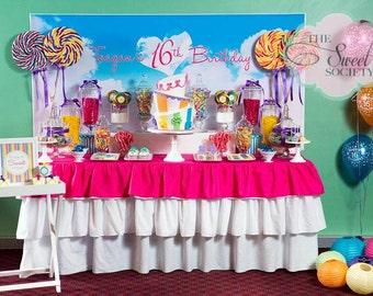 TEENAGE DREAM SWEET 16 Birthday Printable Party Backdrop - you print