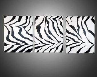 extra large wall art triptych huge triptych hanging Modern zebra Animal Original canvas 3 panel three panel wall decor triptyque 3 sizes
