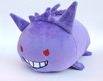 Gengar Pokemon Plush Roll, Handmade, Kanto, Ghost Stuffed Animal Nintendo