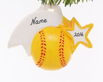 Soft ball ornament - Christmas softball ornament - Coach - Yellow Team Color - Sports ornament personalized softball Christmas ornament (4)