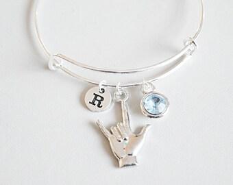 I love you Sign Bracelet, Hand Sign Bracelet, Sign Language Bracelet, Sign Language Jewelry, Sign Language Symbol, sign language i love you