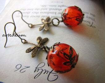 Dragonfly earrings in orange with glass ballsretro earrings vintage inspired bronze christmas gift for her