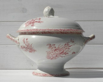 French Antique White Ironstone Tureen with Pink Transferware Pattern, Antique Soupière, French Antique Tureen, French Farmhouse Decor