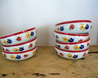 7 Block Anemone Colorful Flower, Soup Cereal Bowls... Lot of Seven
